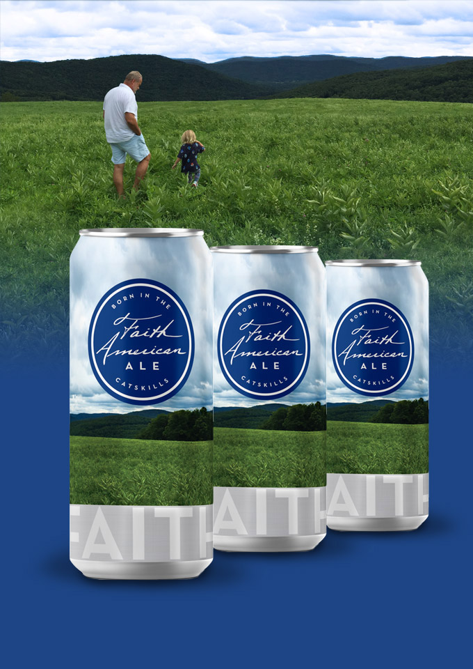 Kelsey Grammer in field with daughter and cans of Faith American Ale superimposed over field