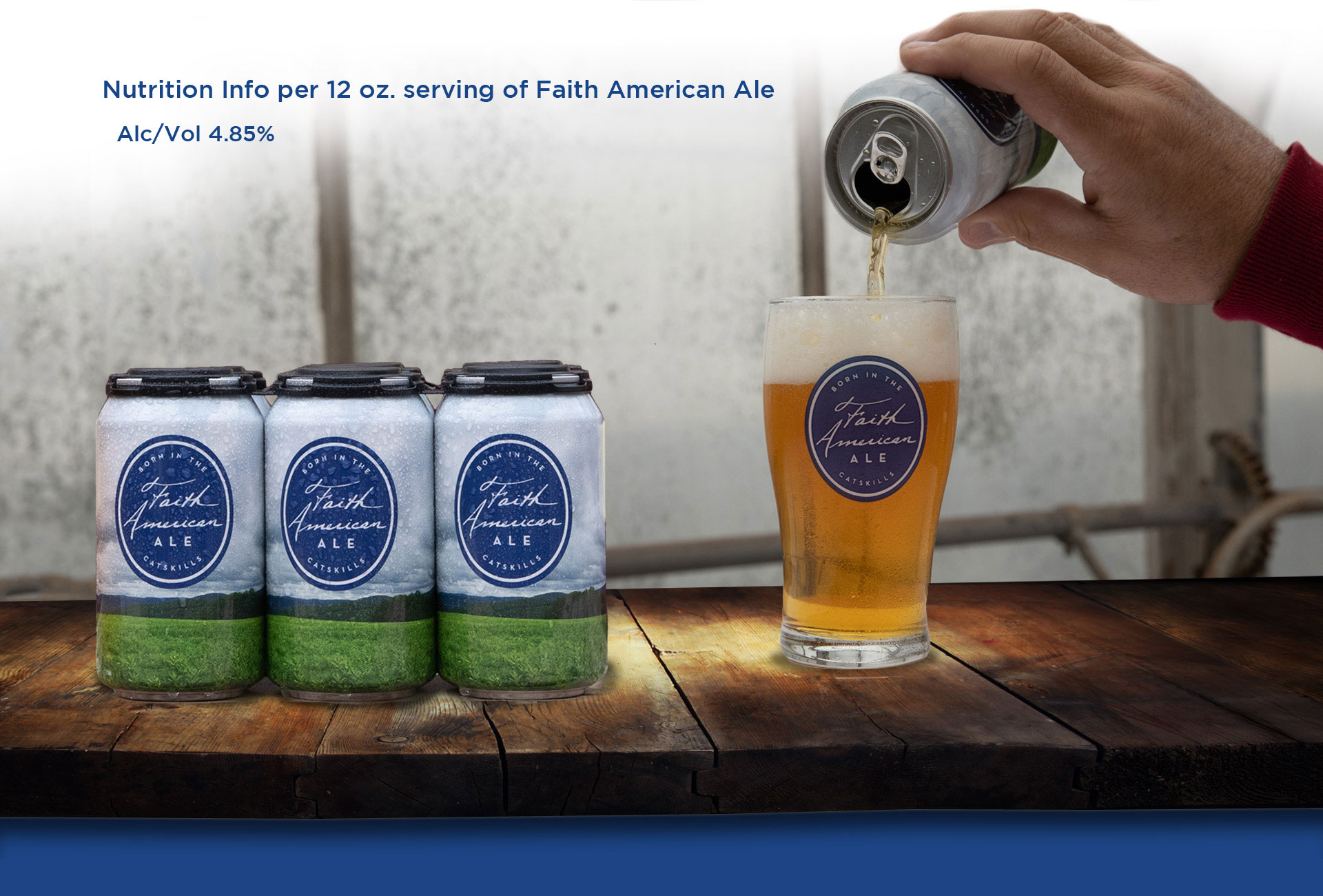 pouring Faith American Ale into glass with 6 pack of cans next to it
