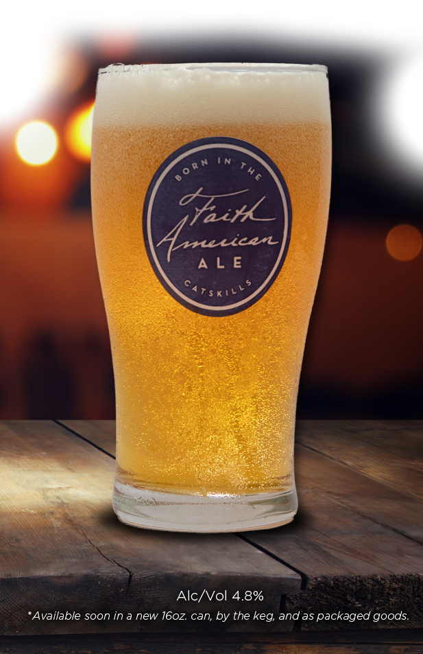glass of Faith American Ale sitting on a bar top