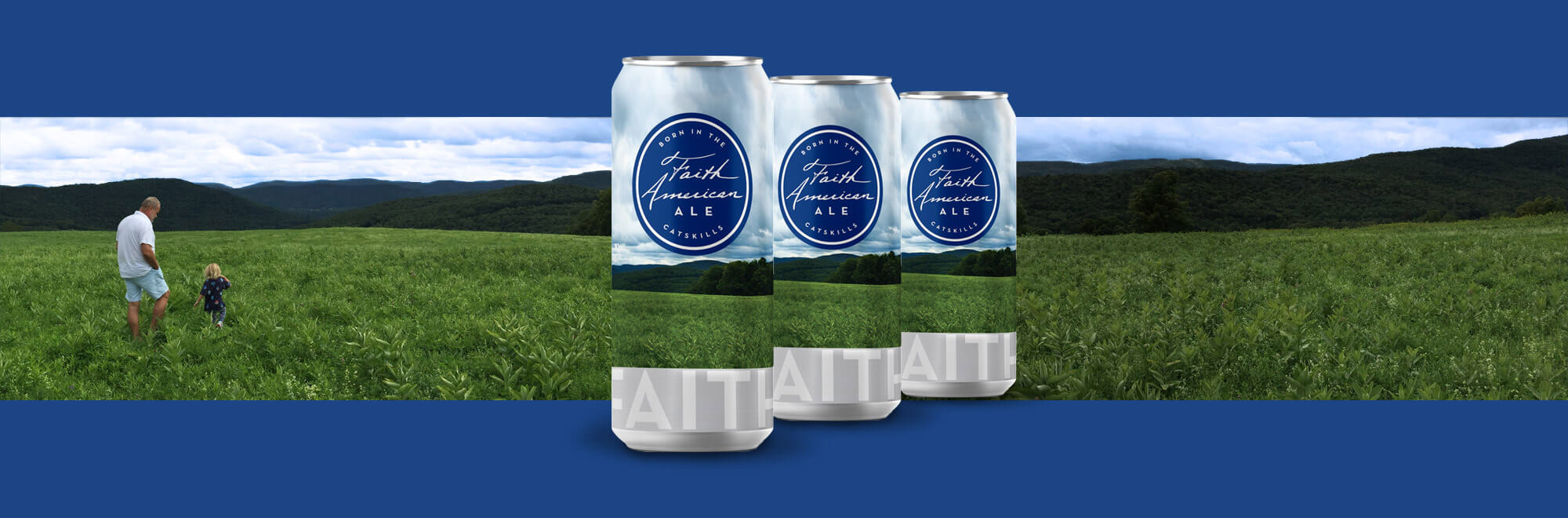 Kelsey Grammer and daughter in field with Faith American cans